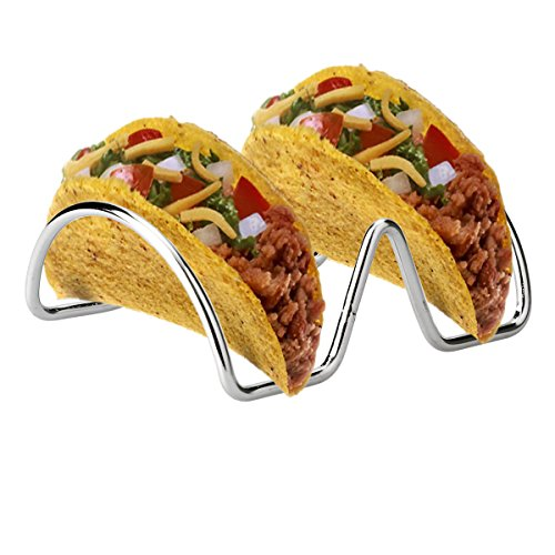 CHICTRY 2Pcs Stainless Steel Taco Holder Rustproof Smooth Edges Taco Shell Holder Stand 2/3 Slots Holders Hold Hard or Soft Shell Tacos 2 Slots Multi by CHICTRY