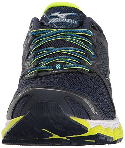 Mizuno Mens Wave Sky Running Shoe Peacoat/Silver/Safety Yellow mhLJrcZ8hN