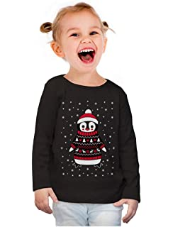 Cute Xmas Penguin Ugly Christmas Girls Toddler Long Sleeve Fitted T-Shirt