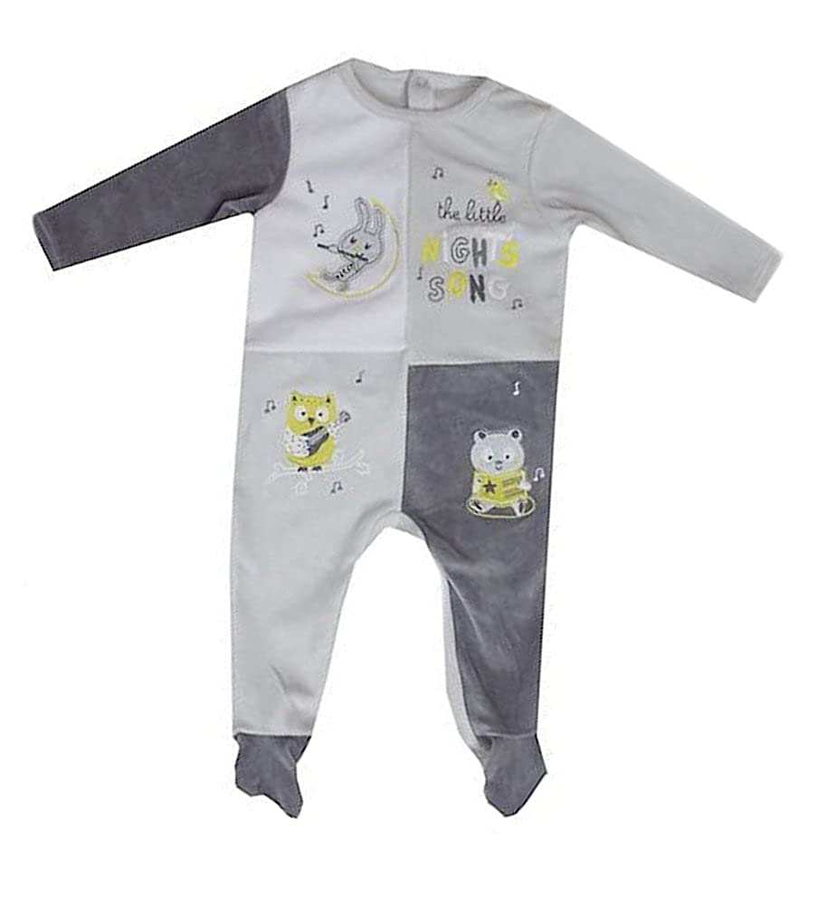 New Ex Chainstore Little Night Songs Grey White Soft Velour Footed Romper Sleepsuit NB-24 Months
