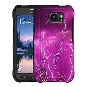 Samsung Galaxy S6 Active Case, Snap On Cover by Trek Magenta Lightening Storm Case