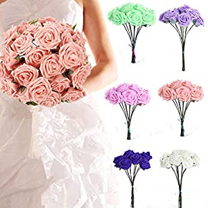 10pcs Classic White Purple Pink Lvory Beige Rose Flowers for Wedding Bridesmaid Bridal Bouquet (White 01) 5
