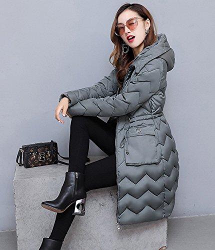 COMVIP Capucha algodón Gris de casual Mujeres caliente la capa de de acolchado chaqueta abrigo r5prq