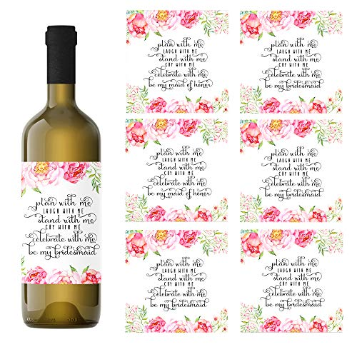 (Floral Be My Bridesmaid Wine Bottle Labels Gift Pack of 7-2 Maid of Honor & 5 Bridesmaid Stickers for Asking My Best)