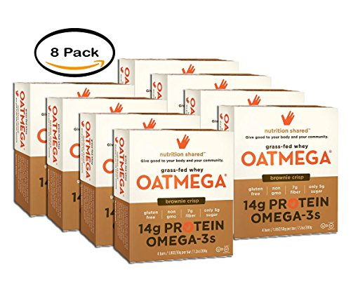 PACK OF 8 - Oatmega Brownie Crisp Protein Bars, 1.8 oz, 4 count by Oatmega