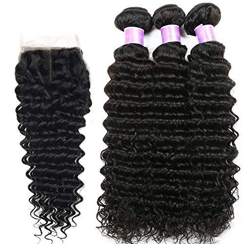 Hair Deep Wave Human Hair Bundles With Closure Brazilian Hair Weave Bundles With Closure Remy Hair Free Part 22 24 26 & Closure18