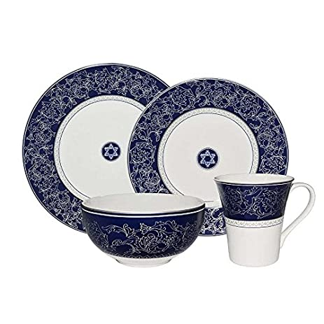 Elegant 16 pc Hanukkah Holiday Dinnerware Dishes set Star of David Pattern  sc 1 st  Amazon.com & Amazon.com | Elegant 16 pc Hanukkah Holiday Dinnerware Dishes set ...