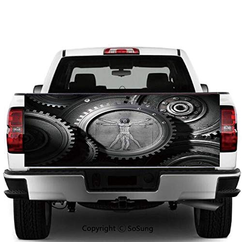 Industrial Decor Vinyl Wall Stickers,Wheels of The System with Medieval Old Human Body Animation Device Gears of The Whole Theme Cars Trucks Decorative Decal Sticker,55x15 Inches,Grey