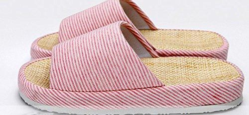 Bronze Fois (tm) Unisexe Classique Bande De Zèbre Intérieur Coton Lin Maison Pantoufles C-rose
