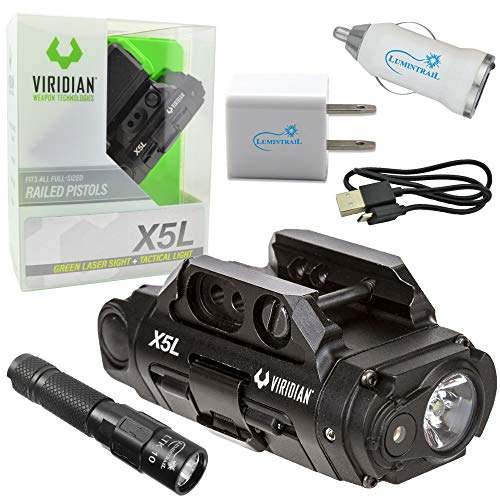 Viridian X5L Gen 3 Green Laser Sight Tactical Light USB Rechargeable Bundle with a Lumintrail Keychain Flashlight, USB Car and Wall Adapters