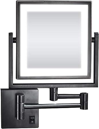 HIFM Tocador Cuadrado de baño Espejo Maquillaje con Luces LED y 3 aumentos - Lupa giratoria de Doble Cara montada en la Pared Espejo de Belleza,Plug Powered_8inch: Amazon.es: Hogar