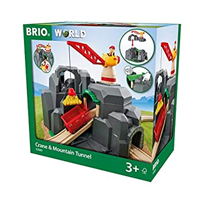BRIO World - 33889 Crane & Mountain Tunnel | 7 Piece Toy Train Accessory for Kids Ages 3 and Up,Multi: Toys & Games