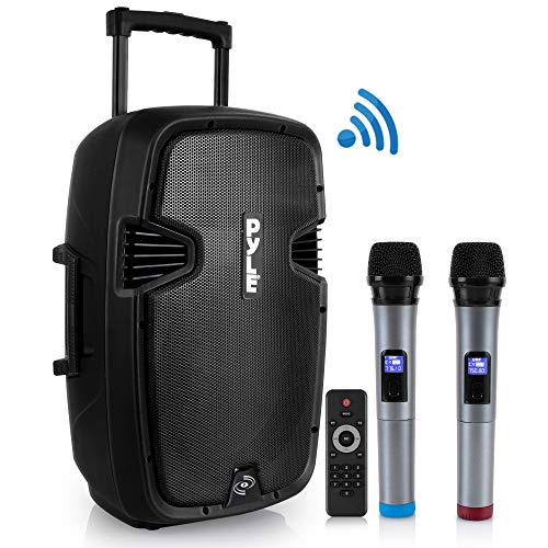 (Karaoke Portable PA Speaker System - 1600W Active Powered Bluetooth Compatible Speaker, Rechargeable Battery, Easy Carry Wheels, USB MP3 RCA, FM Radio, 2 UHF Microphone, Remote - Pyle PPHP1599WU)