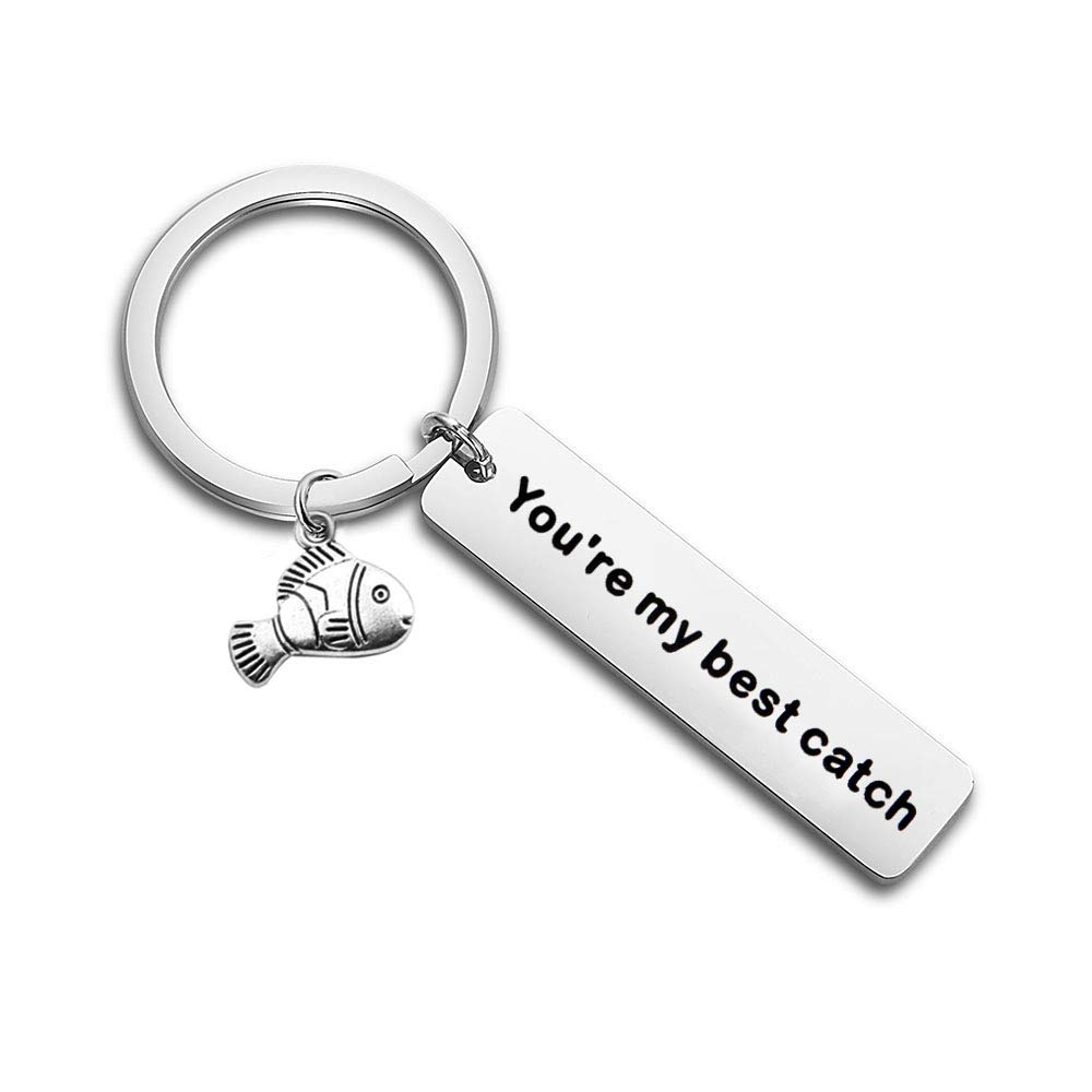 bobauna You're My Best Catch Keychain Fishing Gift for Fisherman Boyfriend Husband Daddy