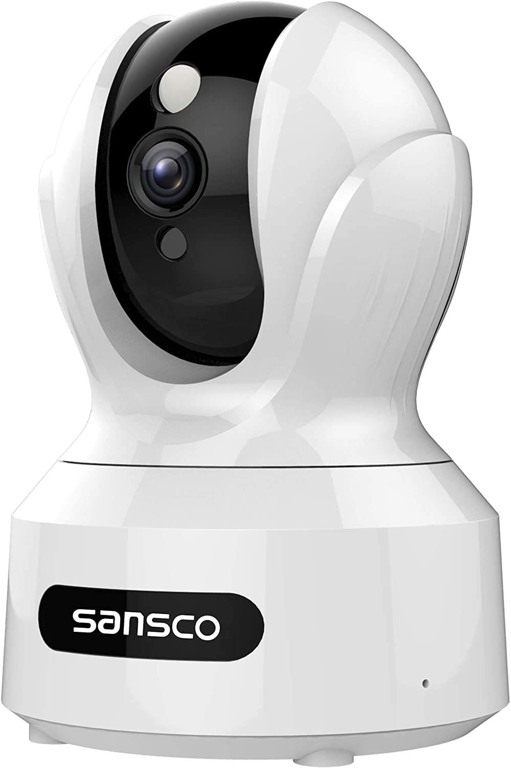 SANSCO Indoor Wireless WiFi Security Camera Full HD 2MP 1080p Home Monitor Surveillance Network IP Camera for Pet/Baby with IR Night Vision, Motion Detection Push Alerts and Two-Way Audio - White