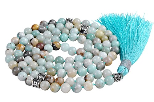 Beaded Spacers Necklace - Mala Beads Necklace, Mala Bracelet, Buddhist Prayer Beads Necklace, Tassel Necklace (Amazonite)