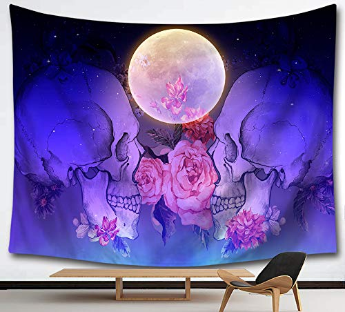 HMWR Suger Skull Tapestry Wall Hanging Pink Flowers Tapestry Bright Moon Midnight Sky Sea Ocean View Dreamy Mystic Collage Dorm Beach Throw Wall Decor 60 x 80 Inches,Purple Blue]()