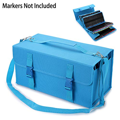 BTSKY New 171 Slots Marker Case Lipstick Organizer-Canvas Markers Holder for for Primascolor Markers and Copic Sketch Markers Blue