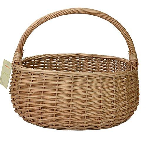 RURALITY Eco-friendly Willow Wicker Storage Basket with Handle