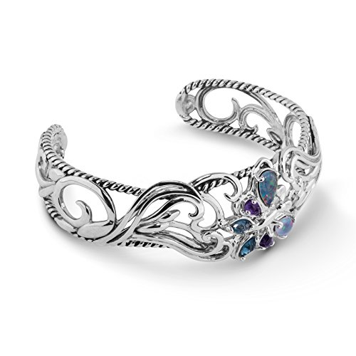 Carolyn Pollack Sterling Silver Multi Gemstone Butterfly Cuff Bracelet - Small
