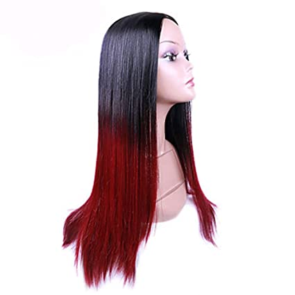 MZP Donna Parrucche Sintetiche Tappi Los lunga liscia rosso naturale parrucca  parrucca Halloween Costume Carnevale Parrucca 7ee44bf3f3f3