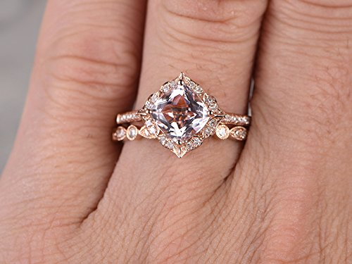 2pcs Morganite Bridal Ring Set,Engagement Ring Rose Gold,Diamond Wedding  Band,14k