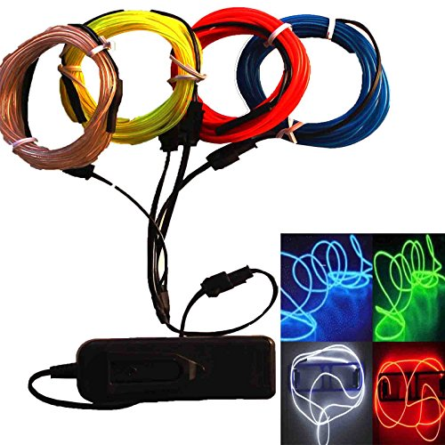 4 x 3ft - TDLTEK Neon Glowing Strobing Electroluminescent Wire /El Wire + 3 Mode Battery Controller and 4 Way Splitter (Blue, White, Green, (Easy Burning Man Costumes)