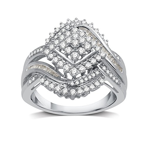 DeCarat 3/4 CT.T.W. Diamond Sterling Silver Cocktail Cluster Ring
