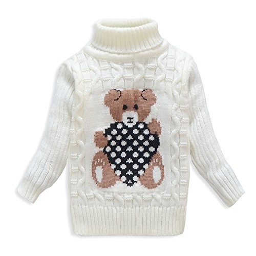 OUYAJI Boys and girls bear pattern Turtleneck sweater white US size 2T (Toddler Pattern Sweater)