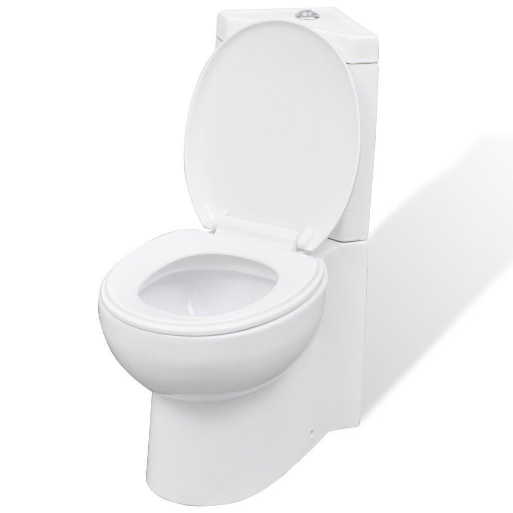vidaXL WC Ceramic Bathroom Corner Toilet White Soft-close Seat Water Saving
