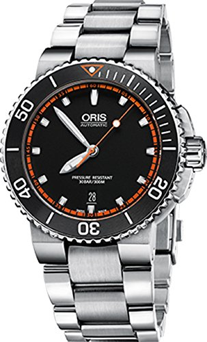 Oris Aquis Mens Date 42MM Automatic Black Face Stainless Steel Bracelet Swiss Watch 73376534128MB