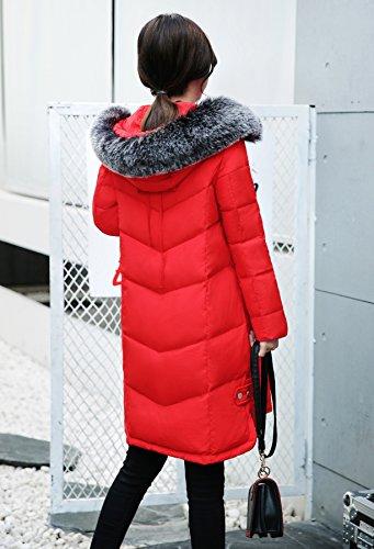 Rouge Fourrure Coat Acvip Chaud Hiver Matelassé Manteau Fausse Avec Capuche Femme Blouson Sqq0Pwx1