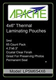 Apache Laminating Pouches, 4x6 Photo Size, 65 Pack, 5 mil