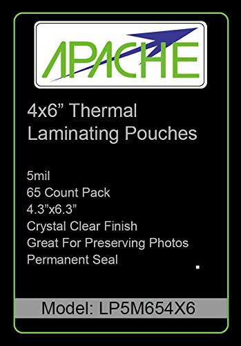- Apache Laminating Pouches, 5 mil (5mil, 4x6 Photo, 65 Pack)