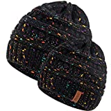 FENELY 2 Pcs Mom and Baby Matching Hats Kids Winter Warm Knit Beanies for Boys Girls