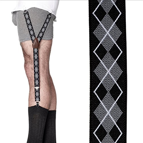 KK & Jay Supply Co. Shirttail Garters - Argyle Shirt Stays (Black/Grey) by KK and Jay Supply