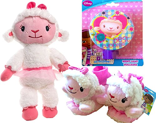Doc Mcstuffins Cuddles and Hugs Lambie Talking Plush with Super Cute DOC Mc Stuffins Toddler BED Slippers with DOC Mc Stuffin Lambie Best Cuddler Night Light (MEDIUM T 7/8) ()