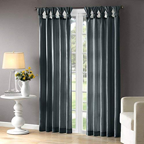 Madison Park Emilia Room-Darkening Curtain DIY Twist Tab Window Panel Black Out Drapes for Bedroom and Dorm, 50x84, Teal (Silk Teal Curtains)