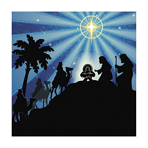 6ft Religious Nativity CHRISTMAS Manger Silhouette Scene WALL MURAL BACKDROP]()