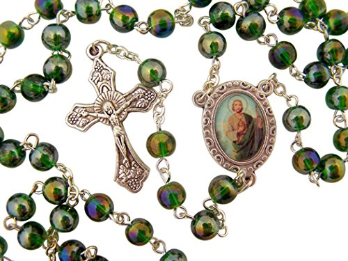 Acrylic Prayer Bead Rosary with Catholic Saint Medal Centerpiece, 17 Inch (Saint Jude)