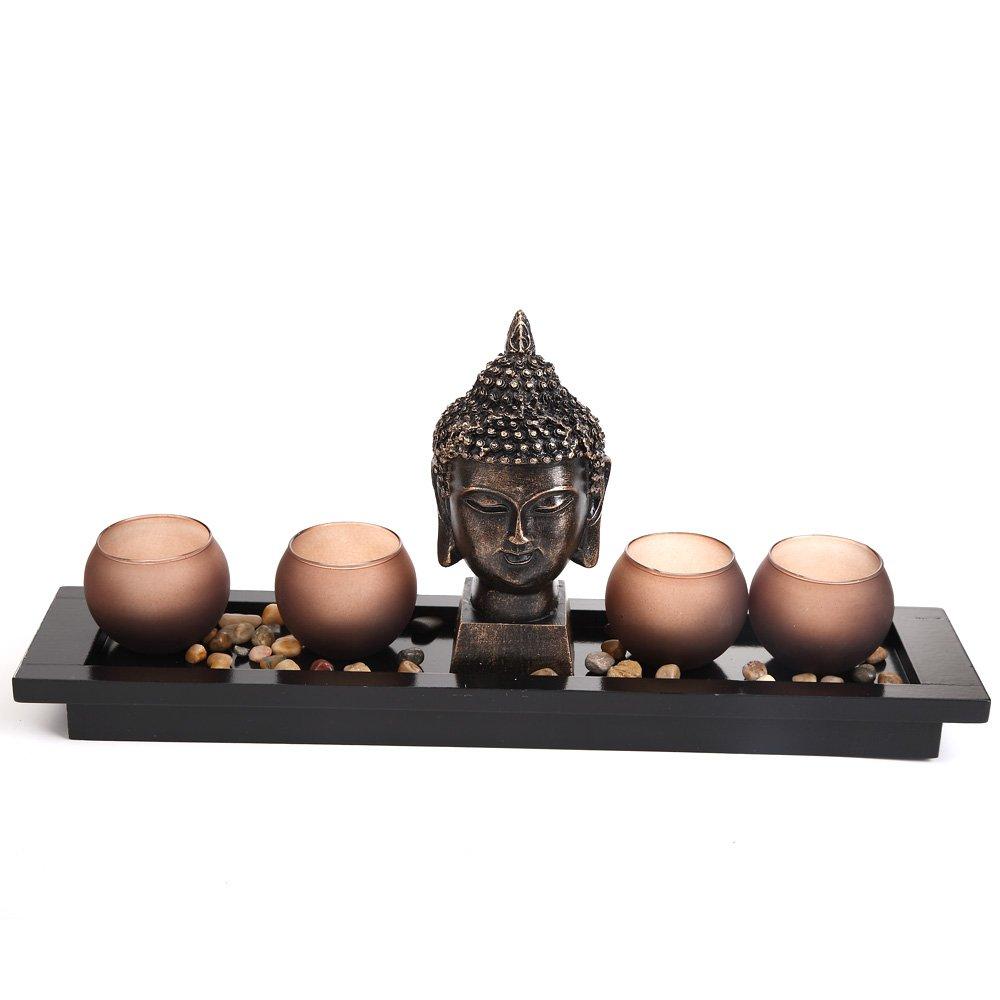 London Boutique Statua porta-candele in stile giardino zen, Thai, testa del Buddha, ornamento, set regalo