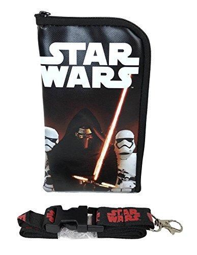 Disney Star Wars Kylo Ken & Storm Troopers Lanyard ID Holder Cute Design Black (Coin Detachable Pouch)