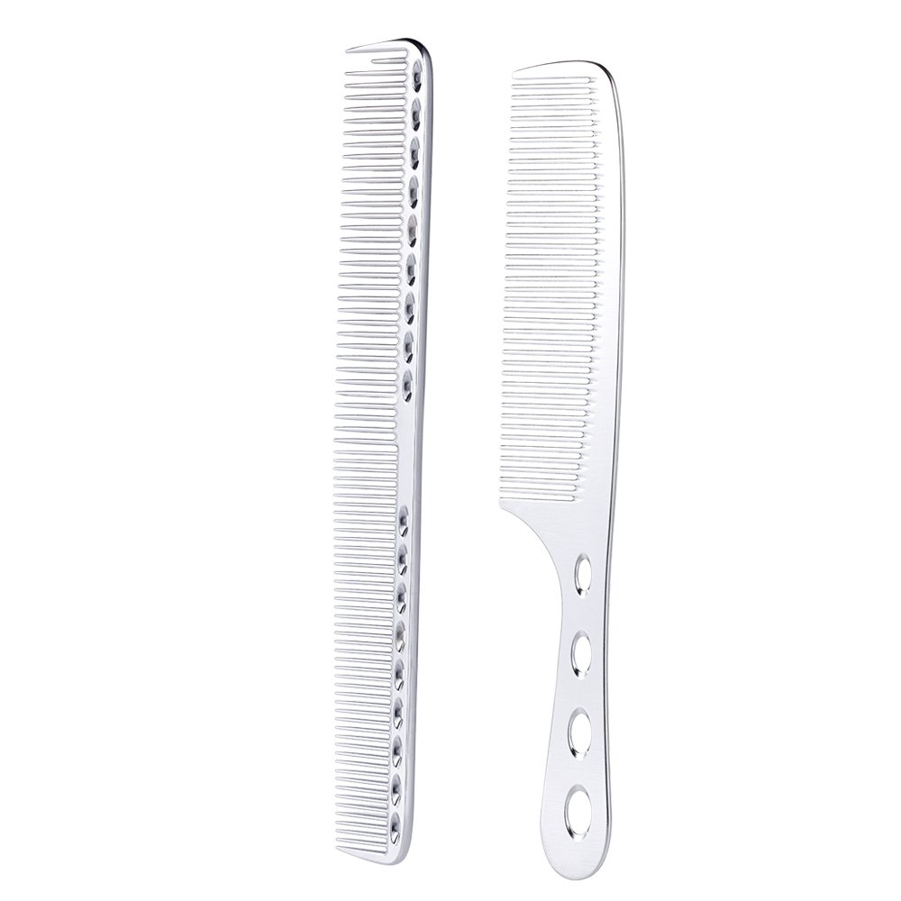 Anself 2pcs Salon Hair Comb Professional Barber Hairdressing Comb Metal Steel Hair Cutting Comb W5188S-HMMFBASL
