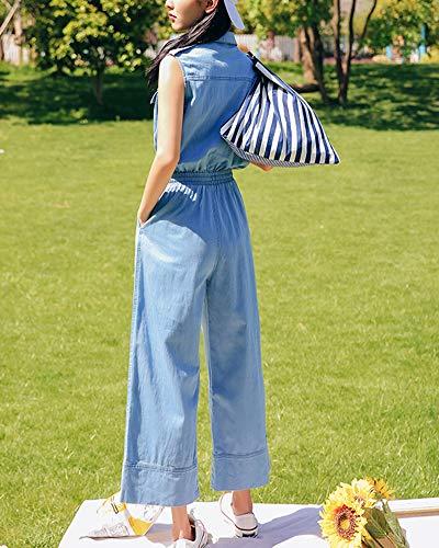 Elastique Dchir sans Bleu Fit Clair Manches Taille Combinaison Femme Slim Jeans wtqYY1A
