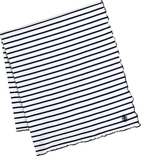 Coolibar UPF 50+ Sun Blanket - Sun Protective (One Size- Navy/White - Clothing Cabo