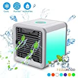 Fitfirst Personal Space Air Cooler, 3 in 1 USB Mini Portable Air Conditioner, Humidifier, Purifier and 7 Colors Nightstand, Desktop Cooling Fan for Office Home Outdoor Travel