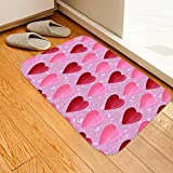 ChYoung Red Hearts Valentine's Day Bath Rugs, Non-Slip 3D Printed Flannel Area Runner Rugs Washable Long Floor Mat