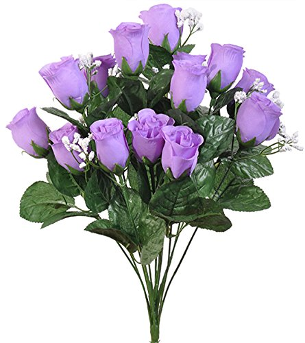 Long Stem Lilac - 14 Dark Lavender Lilac Long Stem Roses Buds Roses Silk Wedding Decoration Flowers Artificial Arrangement Bouquet