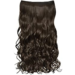 """REECHO 18"""" 1-pack 3/4 Full Head Curly Wave Clips in on Synthetic Hair Extensions Hair pieces for Women 5 Clips 4.0 Oz Per Piece - Medium Ash Brown"""