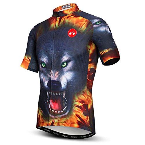 (Cycling Jersey Men Short Sleeve Bike Bicycle Clothing Anti-Slip Strip Full Zipper Reflective at Night)